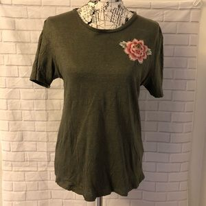 Anthropologie Tiny linen embroidered tee shirt top